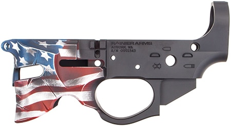 Rainier Arms Overthrow Red White and Blue AR15 Lower Receiver