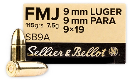 Sellier & Bellot 9mm 115 Grain FMJ Ammo
